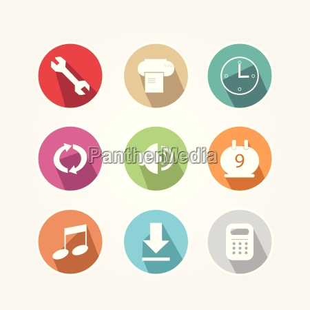 set of icons round and