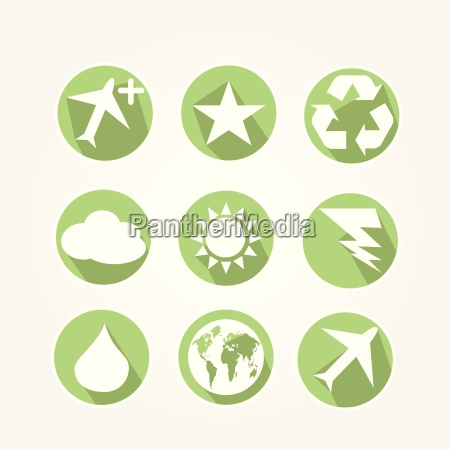 main icons set of nature with