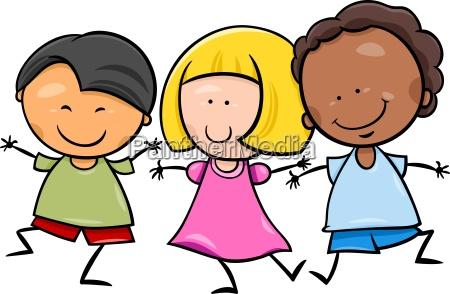 multicultural ninyos dibujos animados ilustracion