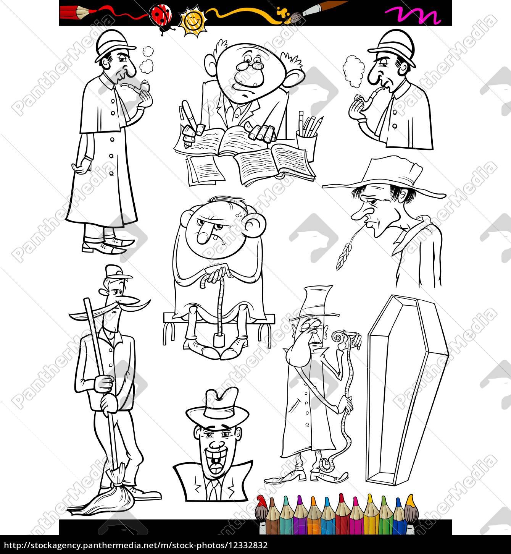 Vector Libre De Derechos 12332832 Retros Personas Dibujos Animados Para Colorear