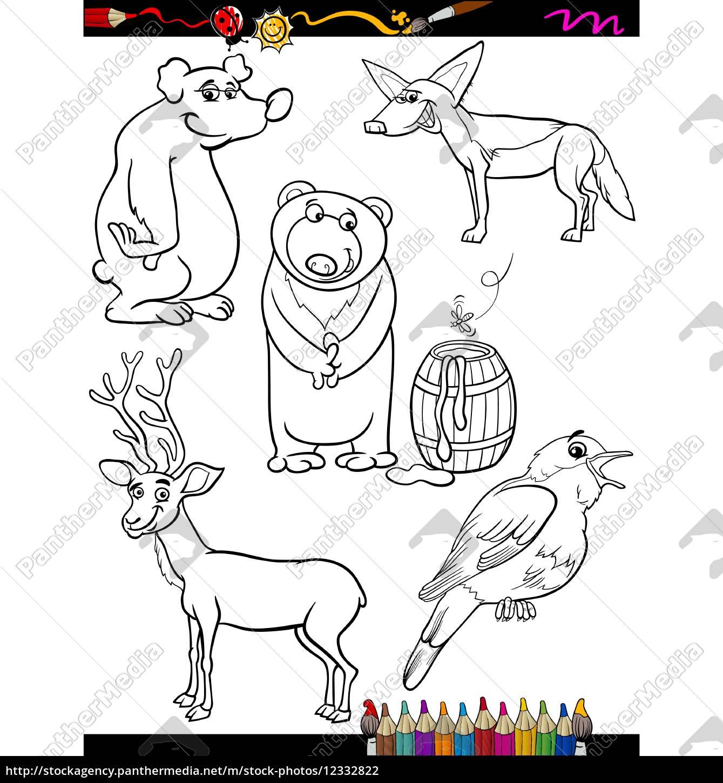 animales para colorear de dibujos animados conjunto - Stockphoto ...