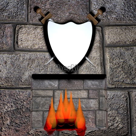 shield and fireplace
