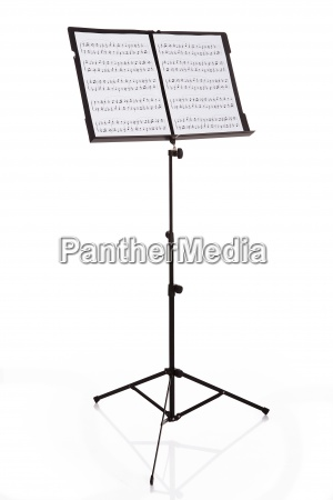 notas musicales en el stand