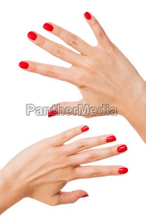 las manos de las mujeres aisladas