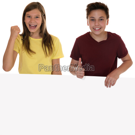 laughing children with empty poster and