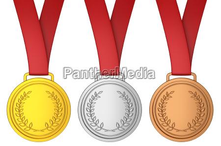 medalla con cinta roja