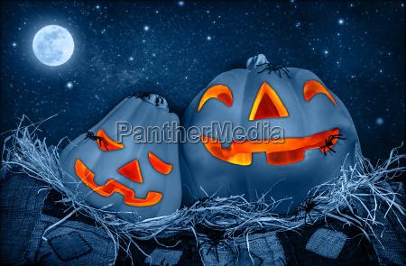 fiesta luna halloween calabaza tallado disecado