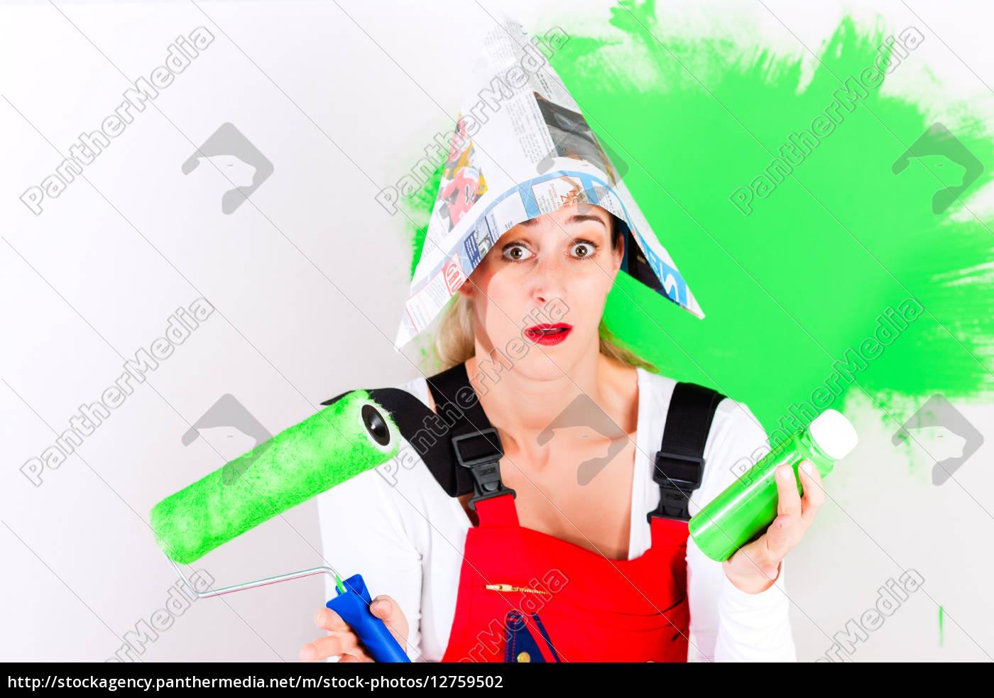 mujer, hacer, diy, y, broma, - 12759502