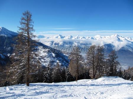 invierno montanya alpino escena bajo un