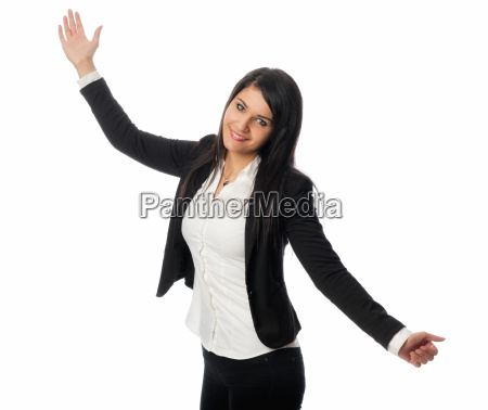 young woman holds presentation