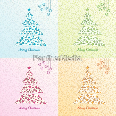 christmas tree background set vector