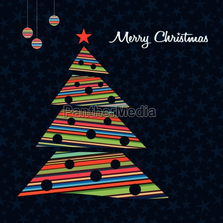 colorful stripes christmas tree background vector