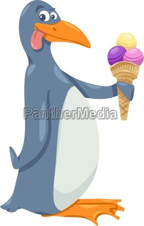 pingueino con el helado de dibujos