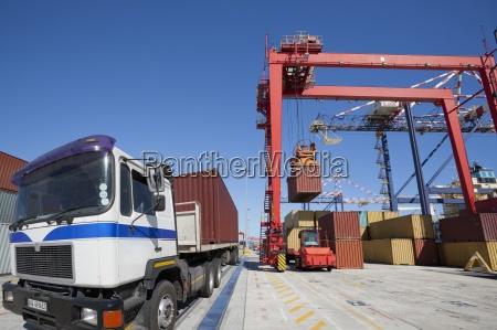 gruas de carga de contenedores en