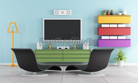 sala de tv colorida