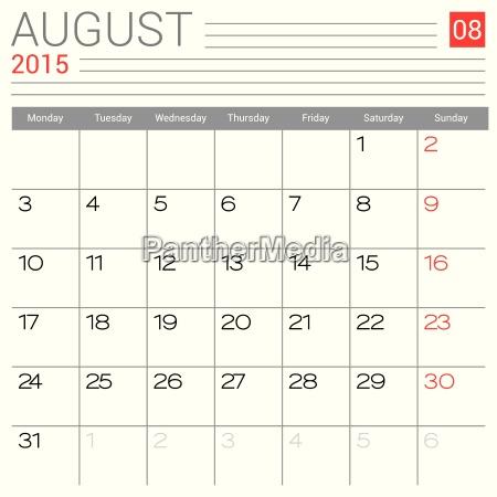 calendario de agosto de 2015