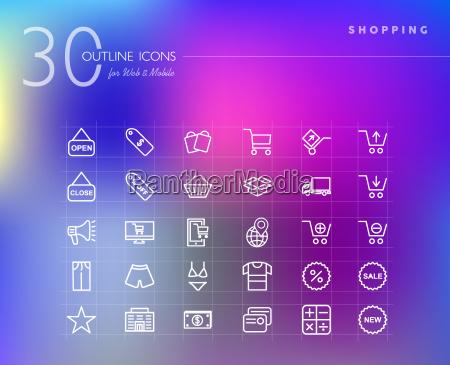 conjunto de iconos de contorno de