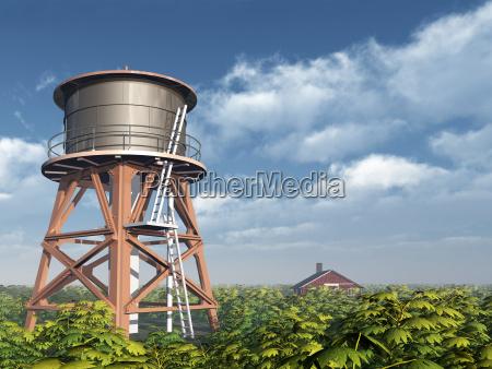 torre y granja del agua