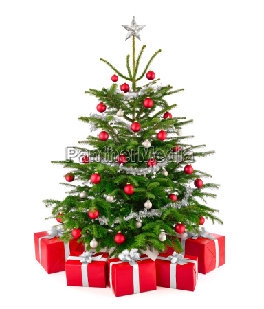 elegant christmas tree with gifts