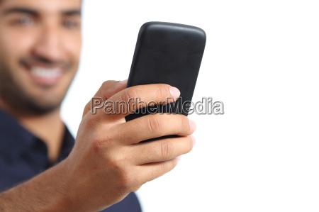 closeup of a man hand using