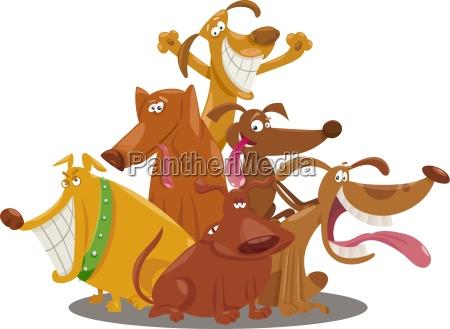 perros juguetones grupo de dibujos animados