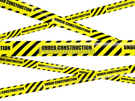 cinta de advertencia amarilla sobre fondo