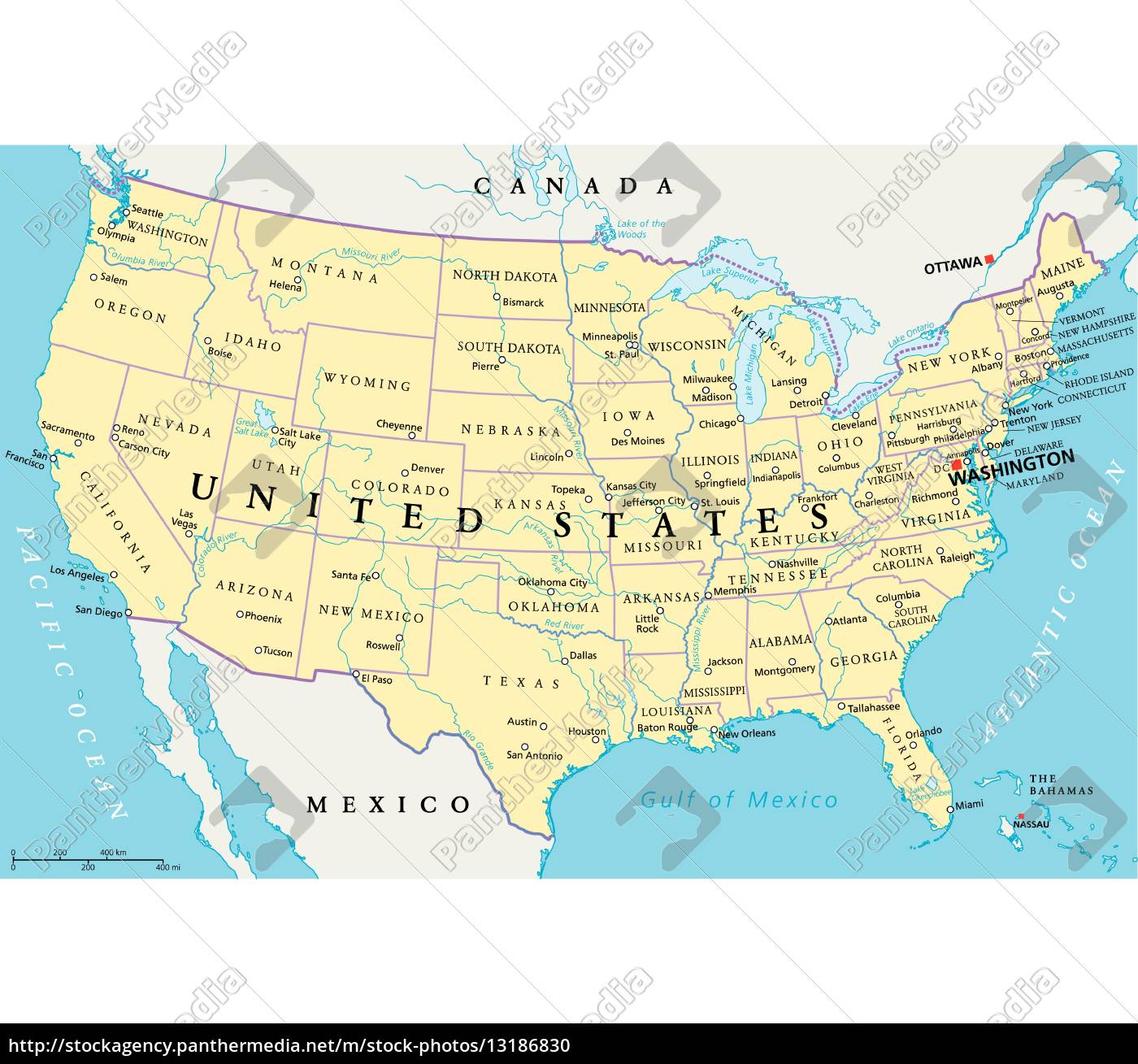 Mapa Politico Estados Unidos.Vector Libre De Derechos 13186830 Mapa Politico De Los Estados Unidos De America