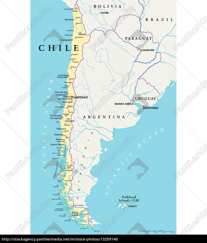 Mapa Politico De Chile.Vector Libre De Derechos 13259140 Mapa Politico De Chile