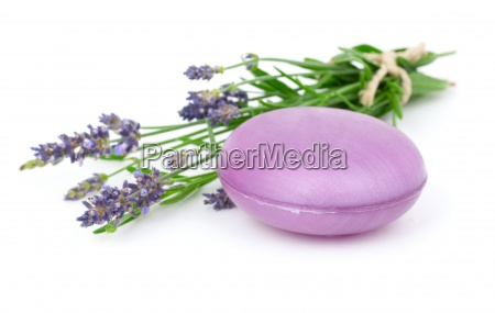 lavender soap and lavender flower isolated
