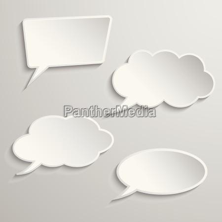 conjunto de cuatro burbujas de pensamiento