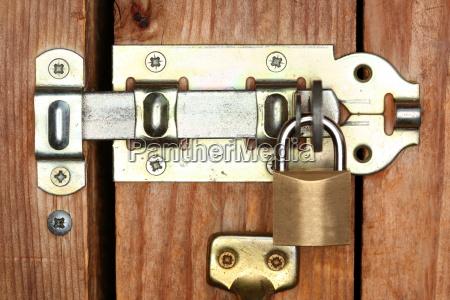 cerradura cerrar primer plano madera puerta