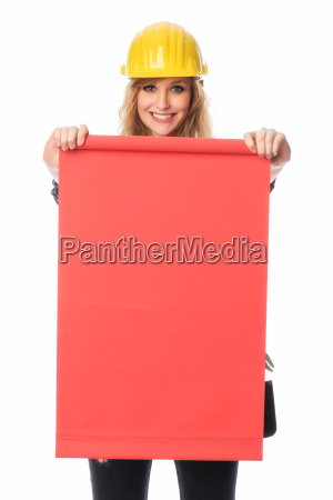 female artisan holding a red advertising