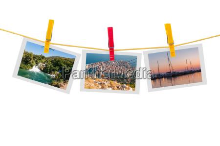 tres fotos de croacia en tendedero