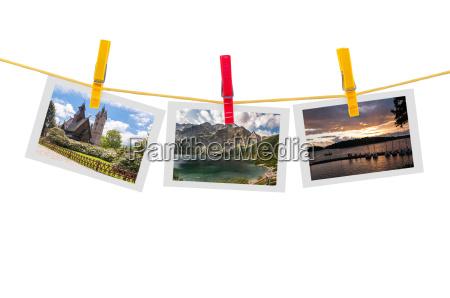 three photos of poland on clothesline
