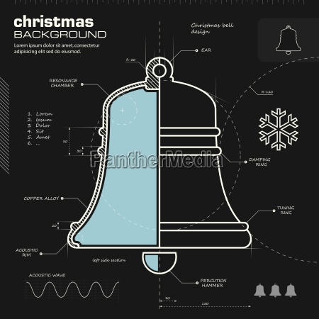christmas bell design vector background