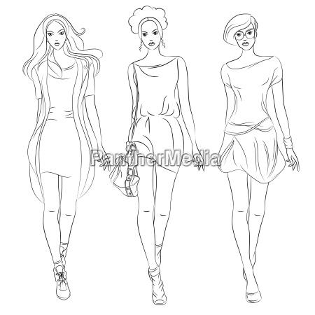 vector hermosa moda chicas top modelos