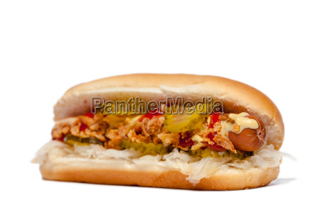 hotdoghot dog en frente de white