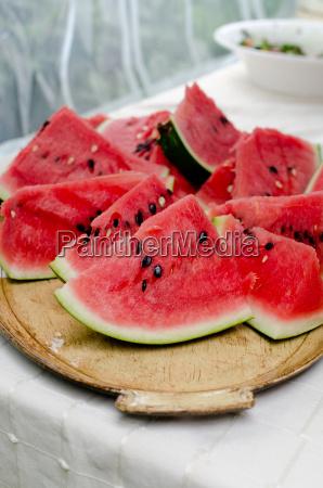 fruta cortar bandeja melones