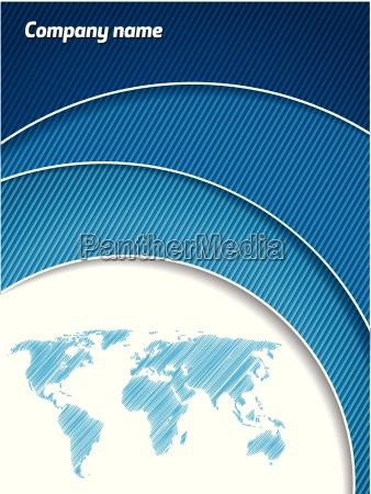 cool blue business brochure with map