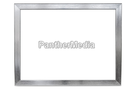 aluminum empty photo frame on white