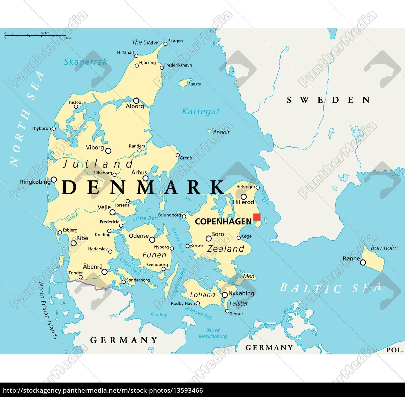 dinamarca mapa mapa político de dinamarca   Stockphoto   #13593466   Agencia de  dinamarca mapa
