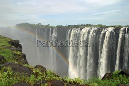 flujo africa cascada arco iris paisaje