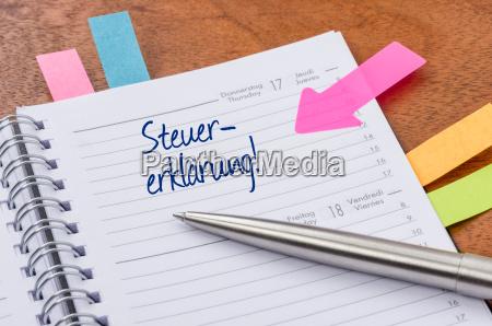 calendario con pegatinas de sugerencias declaracion