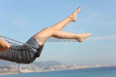 cabello quitado piernas mujer balanceo en
