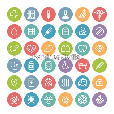 conjunto de planos redondos iconos medicos