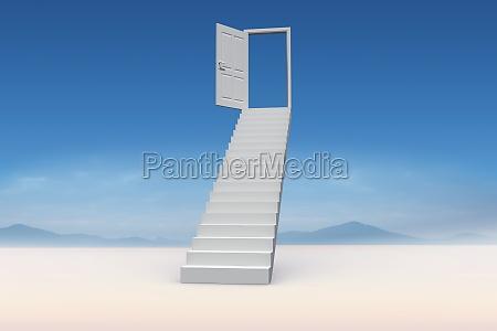 imagen compuesta de escaleras que conducen