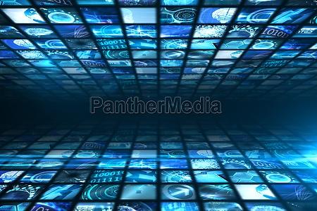 azul ilustracion conexion pantalla brillo digital