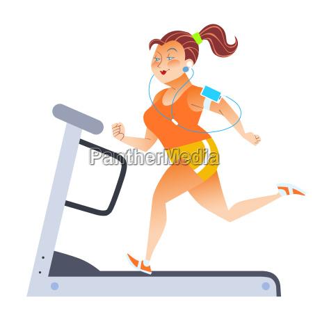 mujer, gorda, en, la, caminadora, inmóvil - 13810667