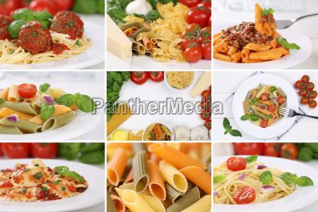 placa masa fideos collage comida tomates