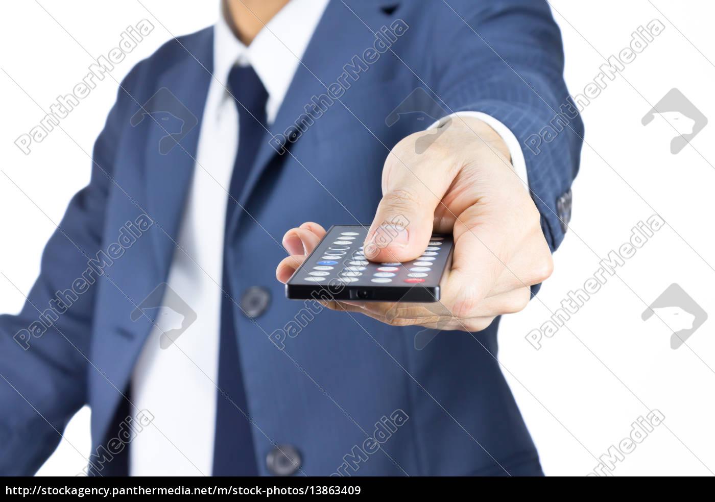 hombre, de, negocios, con, control, remoto, aislado - 13863409